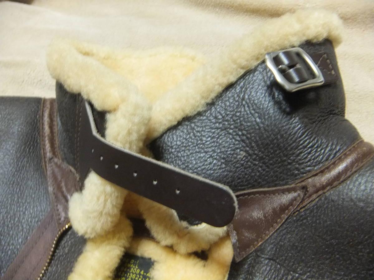 旧リアルマッコイズ D-1 フライトジャケット Sサイズ ムートン 初期型 ニュージーランド製 中古美品_チンストラップもしっかりしています