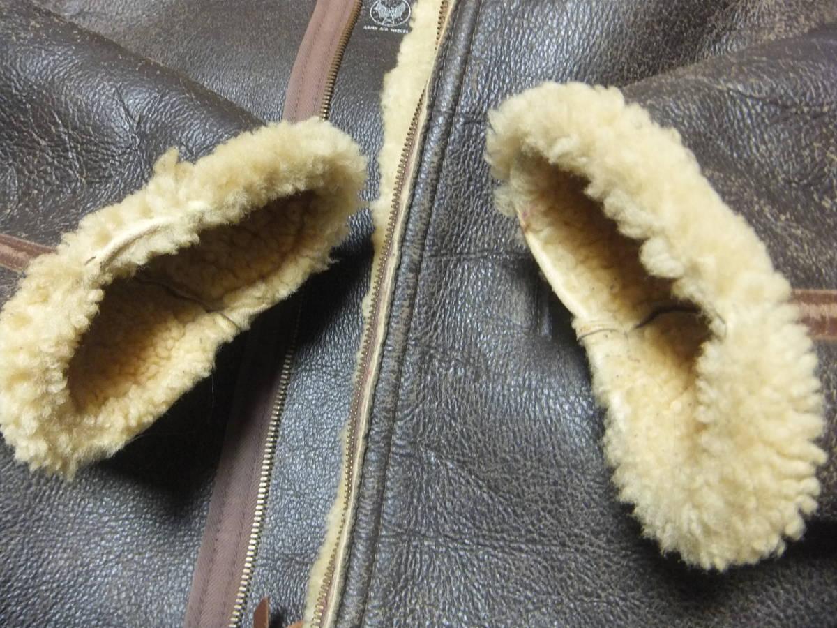 旧リアルマッコイズ D-1 フライトジャケット Sサイズ ムートン 初期型 ニュージーランド製 中古美品_袖ボアに擦れがあります