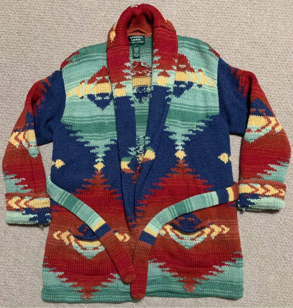 d30bc6990 Vintage Ralph Lauren neitib hand knitted cardigan RRL Polo Country indian  Navajo gaunPOLO RL 92 93 Conti .