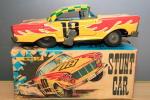 sptoym55 - 当時物 珍しい 箱付き スタントカー 三進玩具製 ブリキ ゼンマイ ギミック付き 昭和レトロ