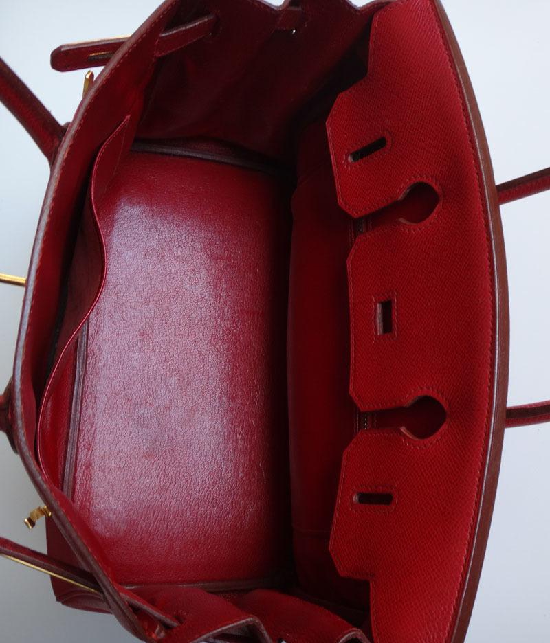 HERMES エルメス バーキン 30 ハンドバッグ クシュベル 赤 レディース トート(ヴァーミリオン)【中古】【即決】_画像7