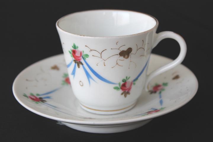 Summer Sale !■ 可愛いバラとリボン、手描きのアンティーク、コーヒーカップ&ソーサー/Sale ■_画像1