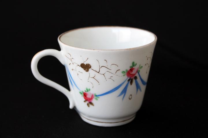 Summer Sale !■ 可愛いバラとリボン、手描きのアンティーク、コーヒーカップ&ソーサー/Sale ■_画像5