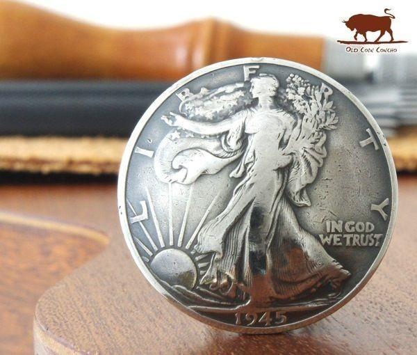 ◆コンチョ ネジ式 アメリカ ウォーキングリバティ ハーフダラー 女神 50セント 銀貨 30mm