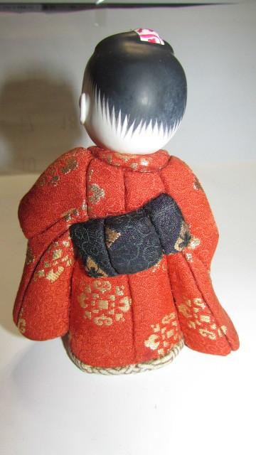 (旧家・蔵出し)(古い味わいのある作家物・萌春作・羽子板を持つ女の子木目込み人形)貴重・珍品_画像5