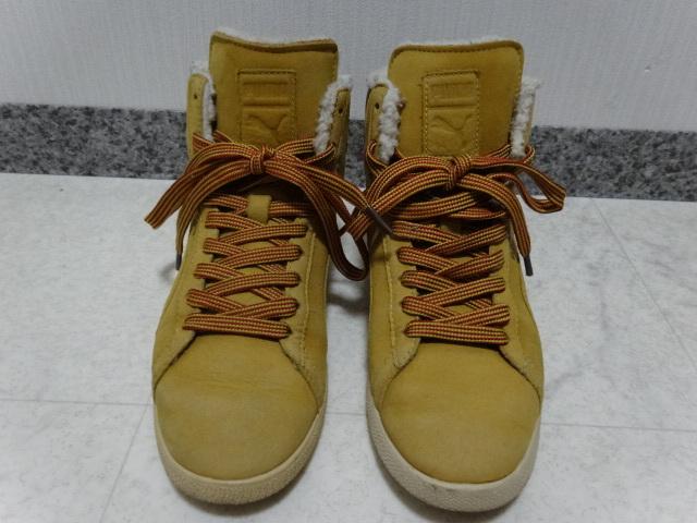 ■■ PUMA プーマ FIRST ROUND lifestyle なめしレザー ボア ハイカット スニーカー シューズ ブーツ ショートブーツ 靴 36 23.0cm Mサイズ_画像2