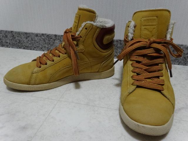 ■■ PUMA プーマ FIRST ROUND lifestyle なめしレザー ボア ハイカット スニーカー シューズ ブーツ ショートブーツ 靴 36 23.0cm Mサイズ_画像1