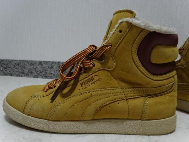 ■■ PUMA プーマ FIRST ROUND lifestyle なめしレザー ボア ハイカット スニーカー シューズ ブーツ ショートブーツ 靴 36 23.0cm Mサイズ_画像4
