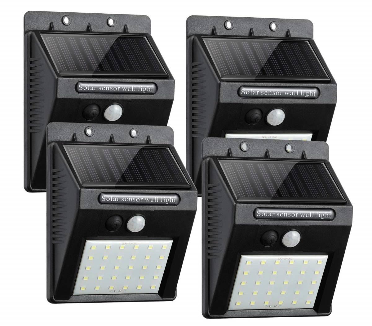【送料無料】5■ソーラー充電式 30LED付センサーライト_4個セット■簡単設置_自動点灯します♪