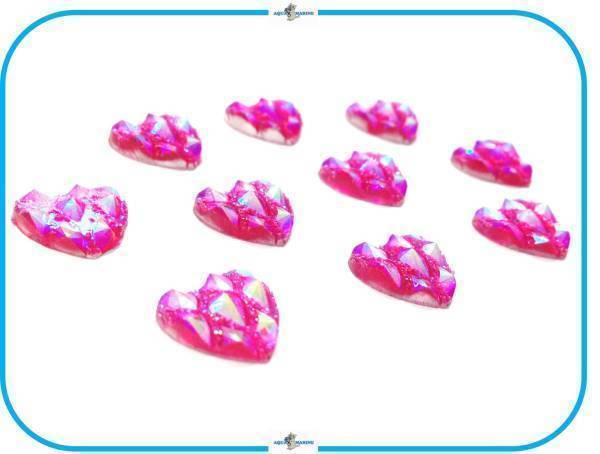 E149 DIY デコレーション パーツ ハート ピンク 10個セット 12mm ハンドメイド 手芸 飾り 材料 キラキラ スクラップブック wedding 結婚式_画像3