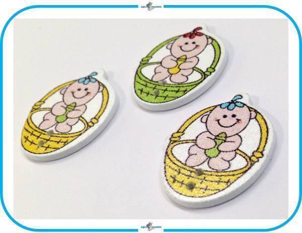 E92 ウッドボタン 木製 ベビー Baby 赤ちゃん デザイン イエロー グリーン 3個 2ホール ハンドメイド 材料 服飾裁縫 素材 手芸飾り パーツ_画像3
