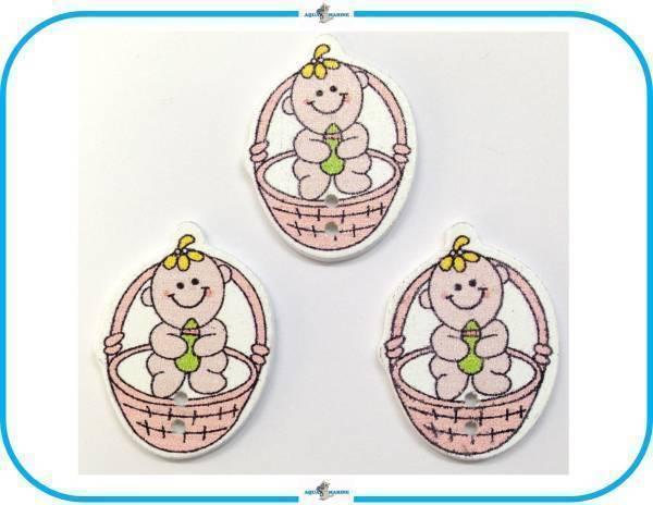 E92 ウッドボタン 木製 ベビー Baby 赤ちゃん デザイン ピンク 3個セット 2ホール ハンドメイド 材料 服飾裁縫 素材 手芸飾り パーツ レア_画像1