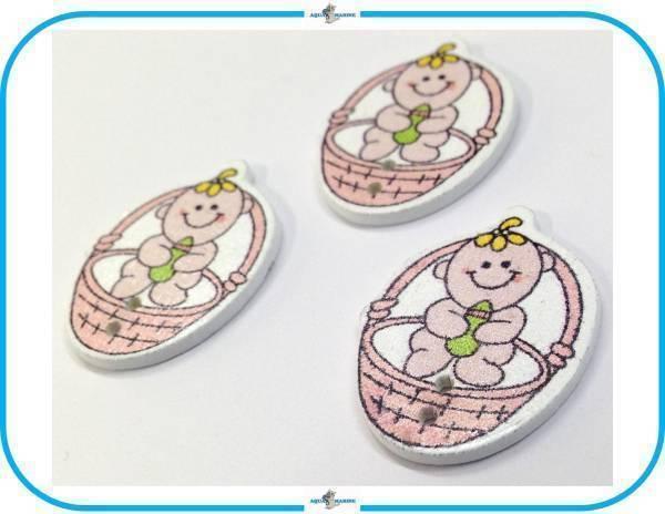 E92 ウッドボタン 木製 ベビー Baby 赤ちゃん デザイン ピンク 3個セット 2ホール ハンドメイド 材料 服飾裁縫 素材 手芸飾り パーツ レア_画像3