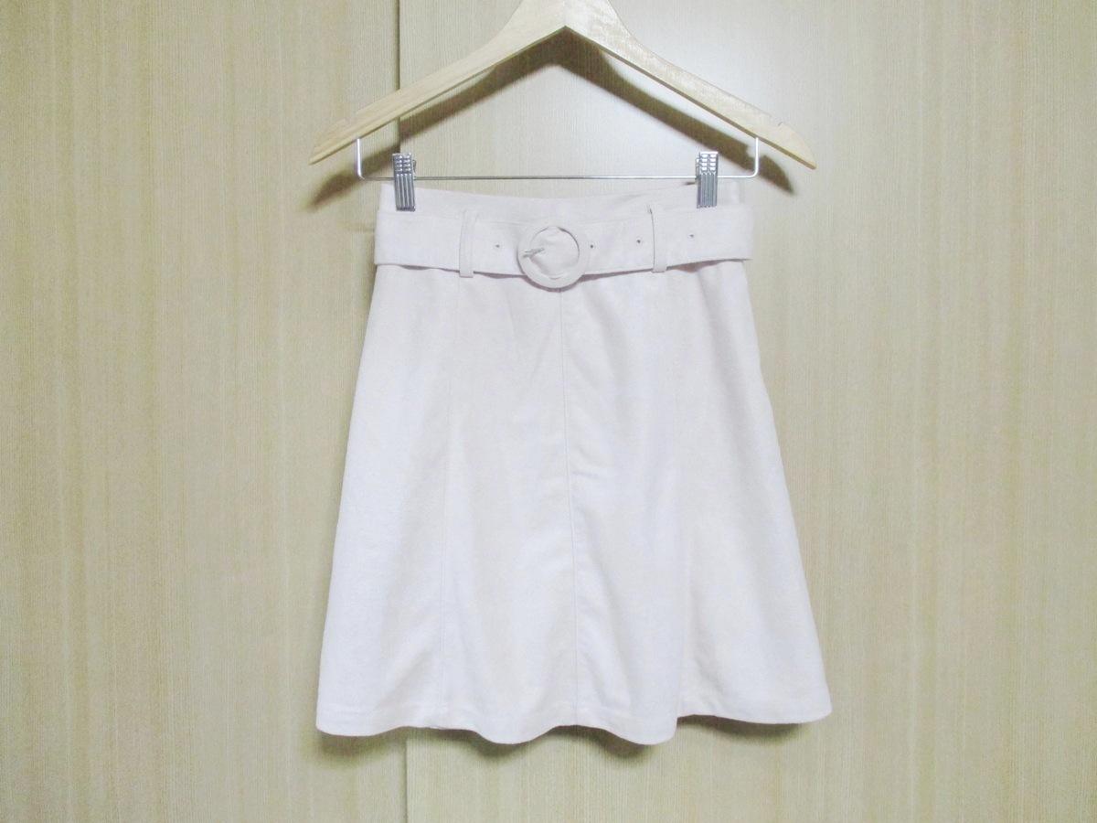 NICE CLAUP/スカート ベルト付き/フェイクスエード/カラー ピンク/サイズF/未使用/わけあり品