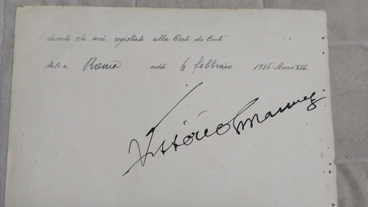 格安・即決★ファシスト・イタリア独裁者ベニート・ムッソリーニ、国王ビットリオ・エマヌエレ三世自筆サイン入ドキュメント(1936年2月)_画像8