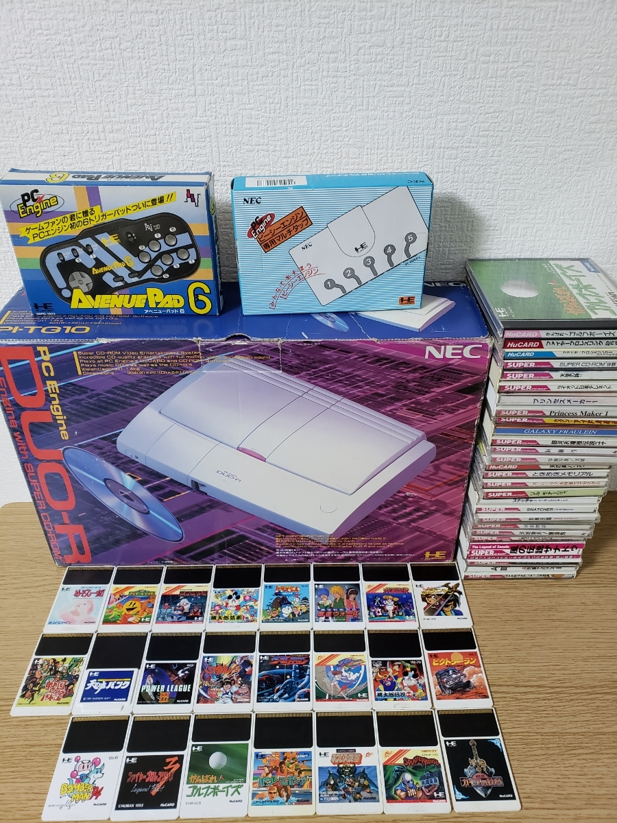 Junk ]PC engine DUO-R body +hyu- card CD-ROM soft 45 pieces set