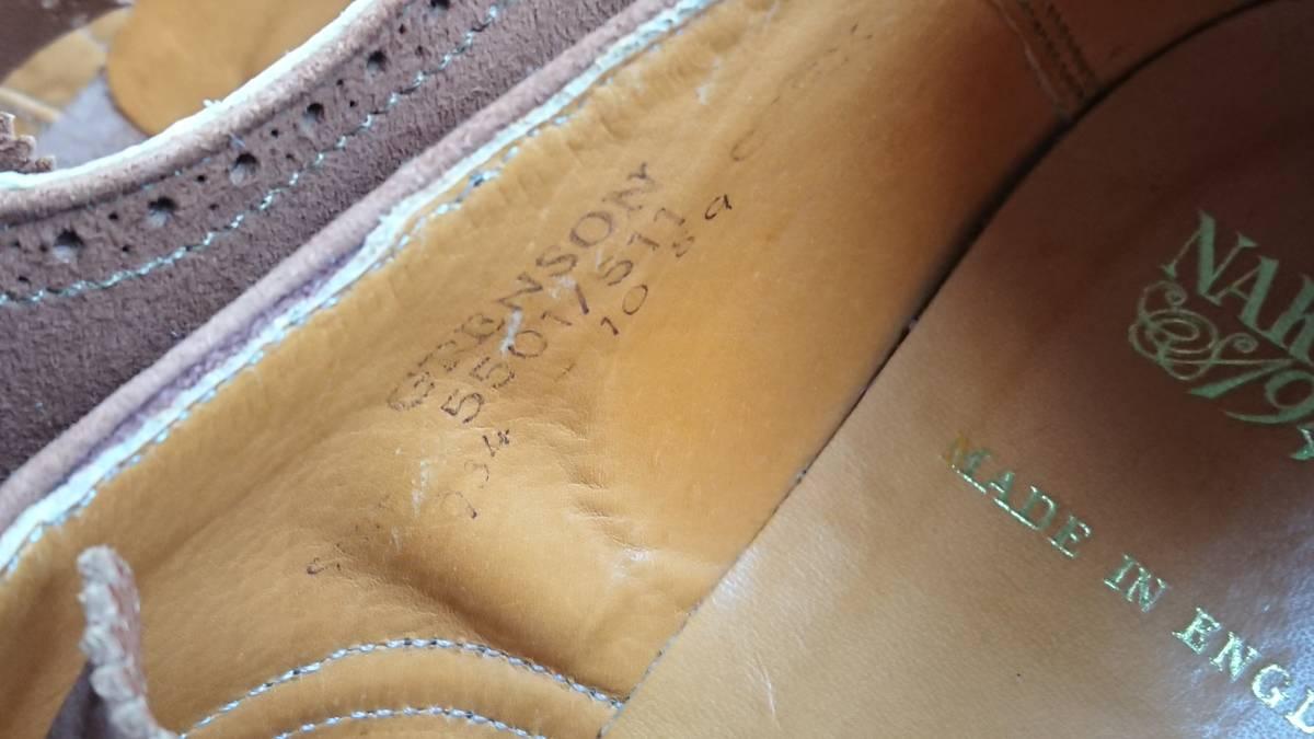 英国グレンソン製 NAKAGAWA1948 スエードウインドチップ 別注品? 24cm程度 used 良品_画像3