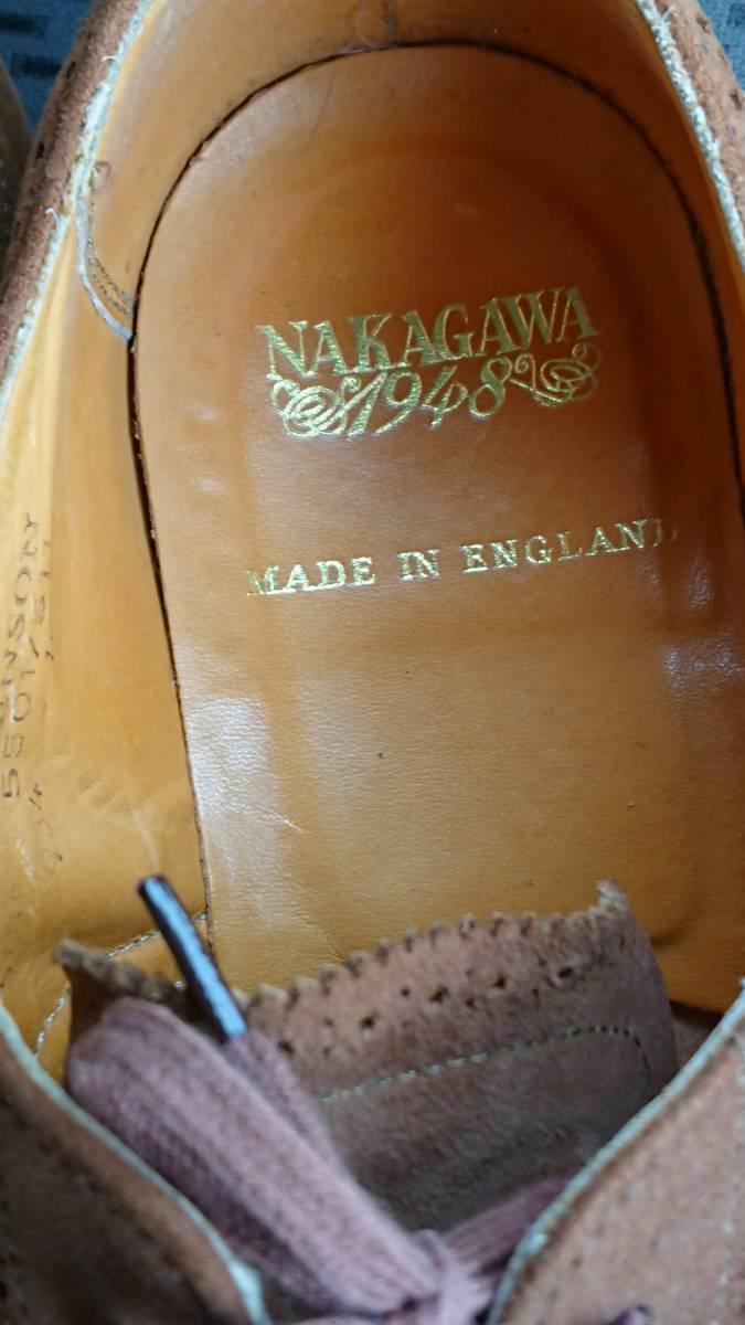 英国グレンソン製 NAKAGAWA1948 スエードウインドチップ 別注品? 24cm程度 used 良品_画像2