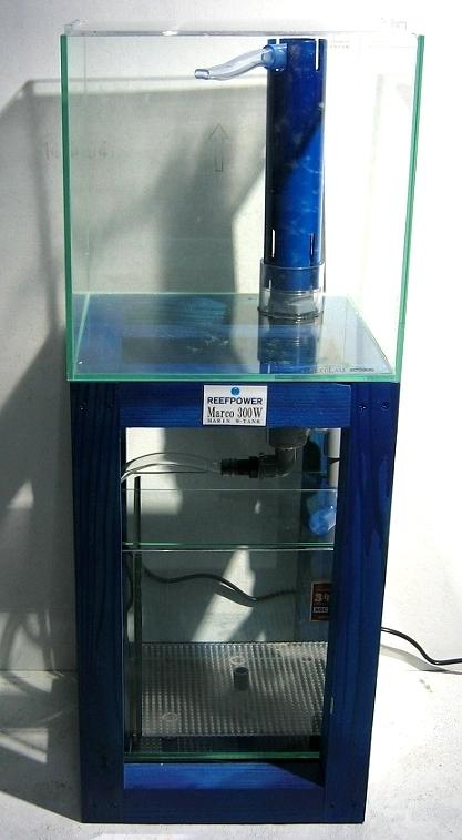 30cmキューブ オーバーフロー水槽 上下ダブルタンクタイプ 水槽台 コバルトブルー(海水館 試験作成品です)