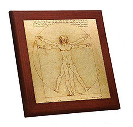 レオナルド・ダ・ヴィンチ『ウィトルウィウス的人体図』木枠付きフォトタイル_画像1