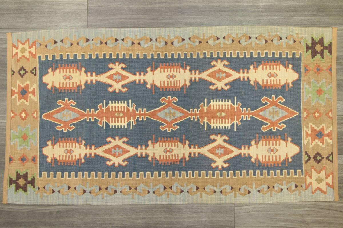 ヴィンテージ コルクウール トルコ カイセリキリム 手織りオールドキリム アンティーク テキスタイルインテリア 73x136cm/GH188_画像2
