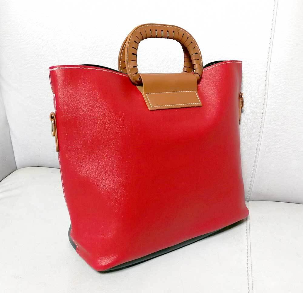 セール 新品!赤/紺 3way ショルダーバッグ 手提げバッグ クロスバッグ PU レザー 軽量