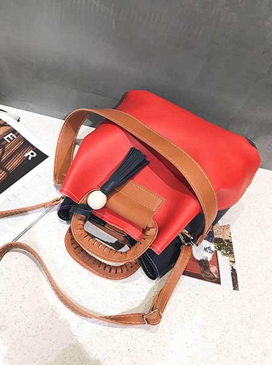 セール 新品!赤/紺 3way ショルダーバッグ 手提げバッグ クロスバッグ PU レザー 軽量_画像4
