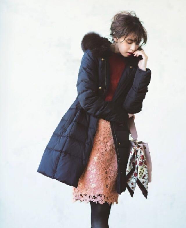 美品 アプワイザーリッシェ ファー付 ロングダウンコート サイズ1 Sサイズ ロング ダウンジャケット 黒 ブラック_画像1