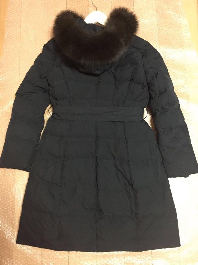 美品 アプワイザーリッシェ ファー付 ロングダウンコート サイズ1 Sサイズ ロング ダウンジャケット 黒 ブラック_画像3