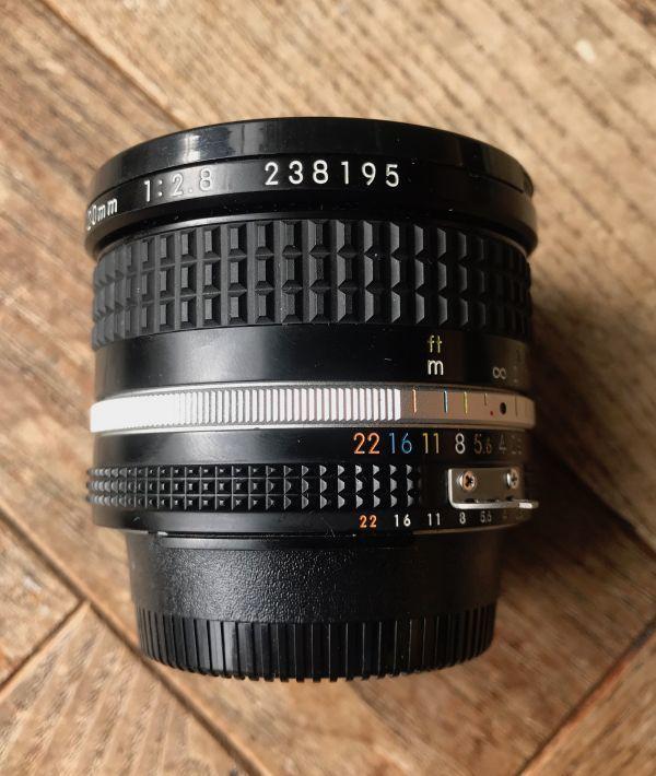 良品 ニコン (NIKON) ニッコール(NIKKOR) 1:2.8/20mm MF レンズ 日本製 ブラック マニュアルフォーカス_画像4