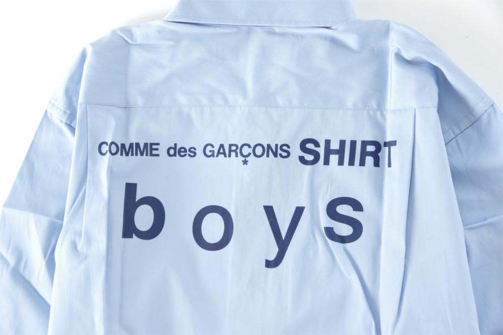 新品 18-19AW COMME des GARCONS SHIRT BOYS 【 コムデギャルソン シャツ ボーイズ 】バックロゴプリントシャツ ライトブルー S_画像7