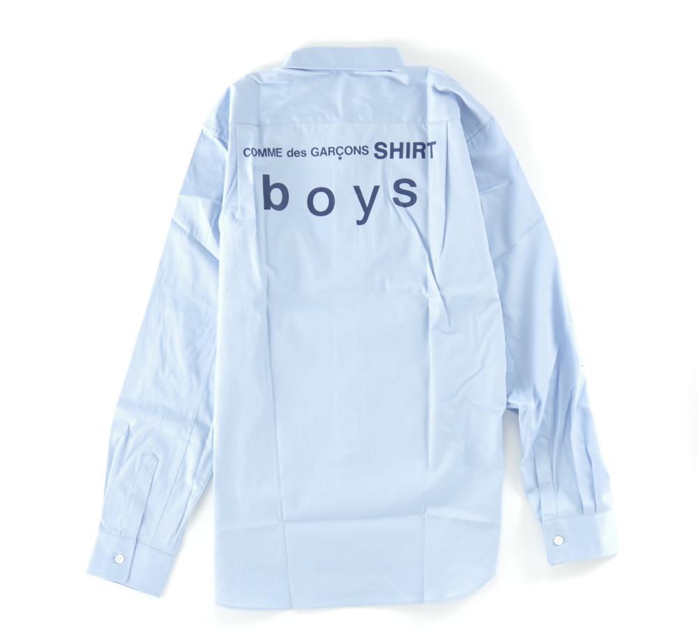 新品 18-19AW COMME des GARCONS SHIRT BOYS 【 コムデギャルソン シャツ ボーイズ 】バックロゴプリントシャツ ライトブルー S_画像2