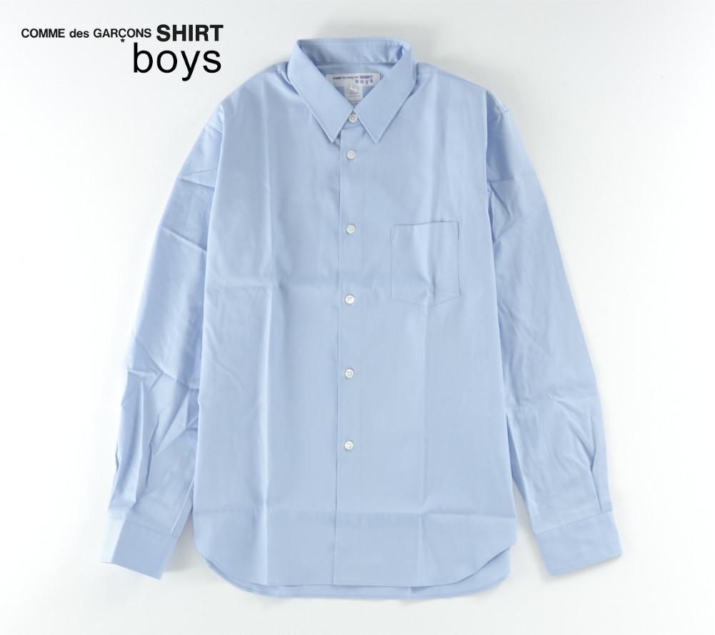 新品 18-19AW COMME des GARCONS SHIRT BOYS 【 コムデギャルソン シャツ ボーイズ 】バックロゴプリントシャツ ライトブルー S