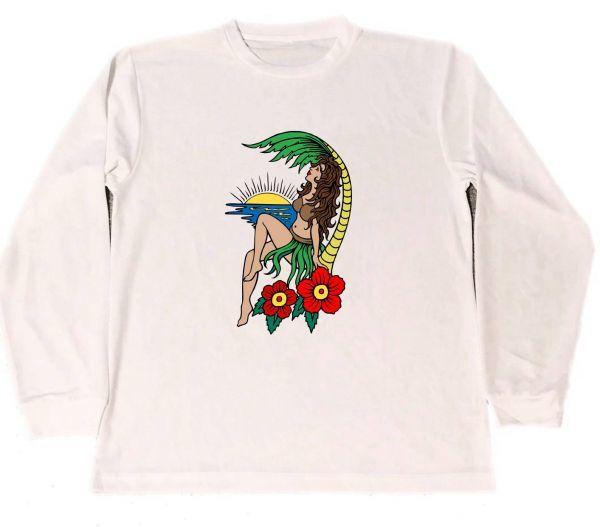 アロハ ガール ドライ Tシャツ ピース 平和 サーフィン ハワイ フラダンス フラ ガール 2 ロングTシャツ ロンT_画像1