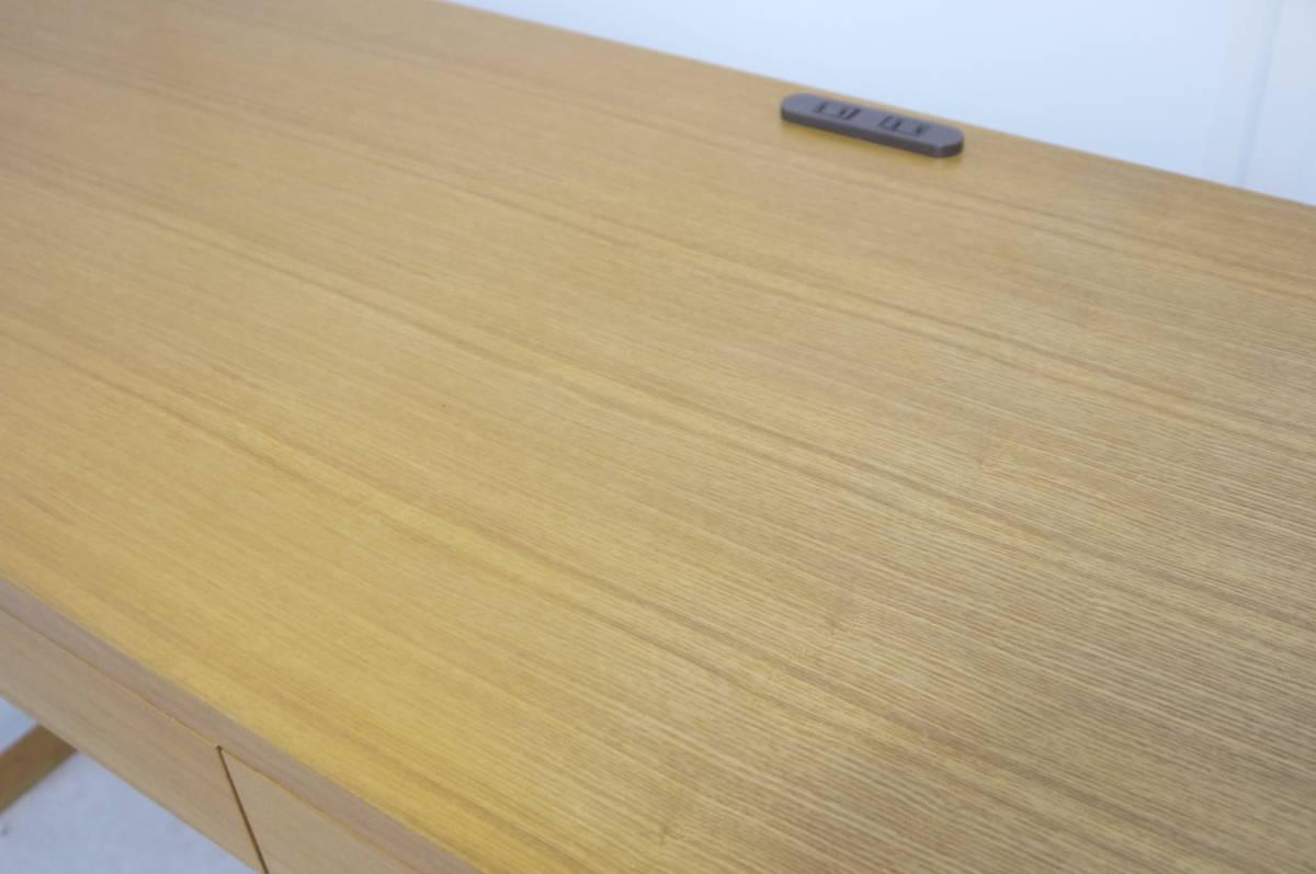 ■美品■ 北欧 モダン 高級 タモ材 デスクテーブル 引き出し コンセント付き W150cm 勉強机 作業台 検 アクタス IDEE カリモク 無印良品_画像5
