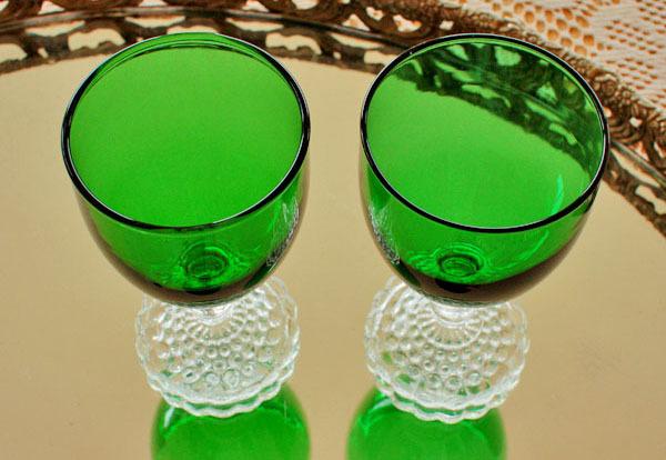 美品! ファイヤーキングバブル フォレストグリーン ワイングラス 2個セット ゴブレット_画像4