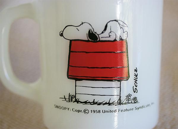 美品! ファイヤーキング マグ スヌーピー モーニングアレルギー ピーナッツ 耐熱 ミルクグラス コーヒー ビンテージ _画像5
