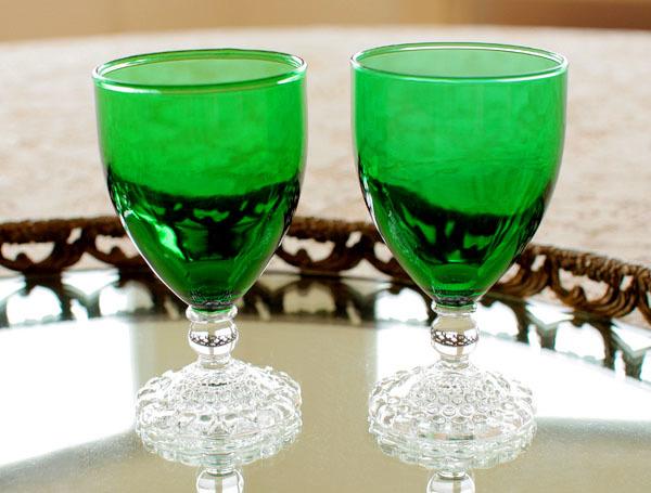 美品! ファイヤーキングバブル フォレストグリーン ワイングラス 2個セット ゴブレット
