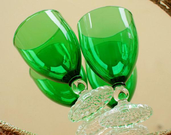 美品! ファイヤーキングバブル フォレストグリーン ワイングラス 2個セット ゴブレット_画像2
