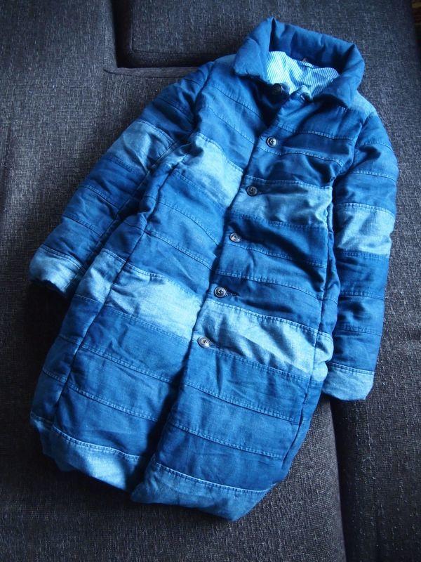 23d7804ccb6a1e 代購代標第一品牌- 樂淘letao - ☆鮮やかなパッチワークライン◎美しい藍染めダウンコート☆45rpm メンズも即決ダウンジャケットインディゴ染め ネイビー