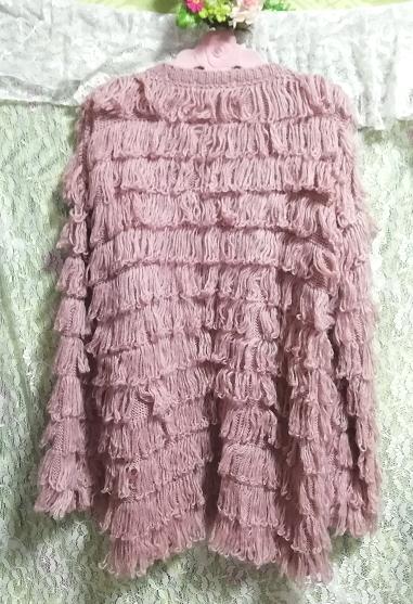 ピンクフワフワアクリル糸段フリルニットカーディガン Pink fluffy acrylic yarn frill knit cardigan_画像2