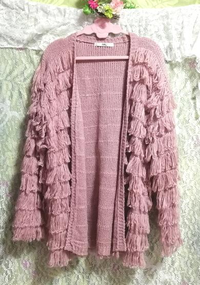 ピンクフワフワアクリル糸段フリルニットカーディガン Pink fluffy acrylic yarn frill knit cardigan_画像1