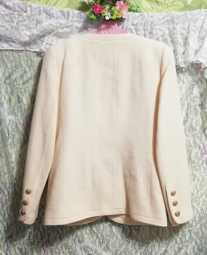 フローラルホワイトツーピース毛のスーツ トップスとスカート Floral white two piece suits tops and skirt_画像6