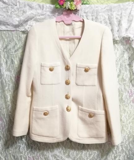 フローラルホワイトツーピース毛のスーツ トップスとスカート Floral white two piece suits tops and skirt_画像5