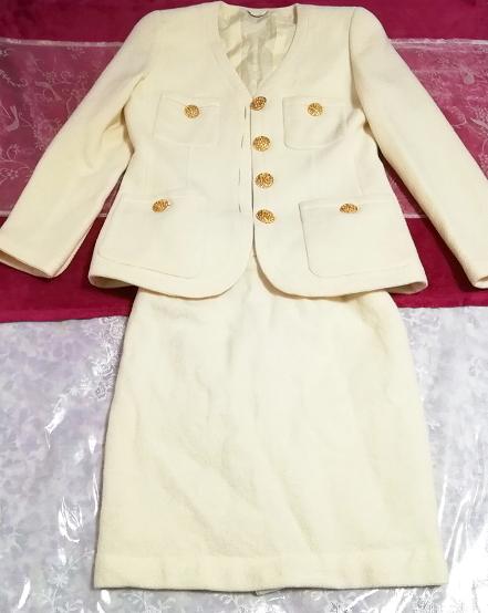 フローラルホワイトツーピース毛のスーツ トップスとスカート Floral white two piece suits tops and skirt_画像1