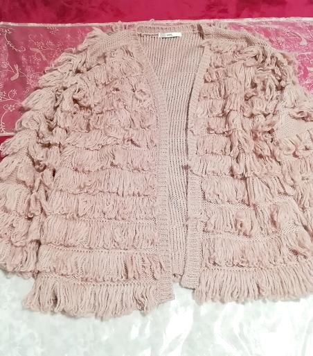 ピンクフワフワアクリル糸段フリルニットカーディガン Pink fluffy acrylic yarn frill knit cardigan_画像4