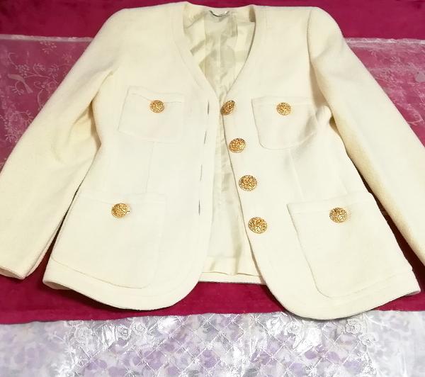 フローラルホワイトツーピース毛のスーツ トップスとスカート Floral white two piece suits tops and skirt_画像2