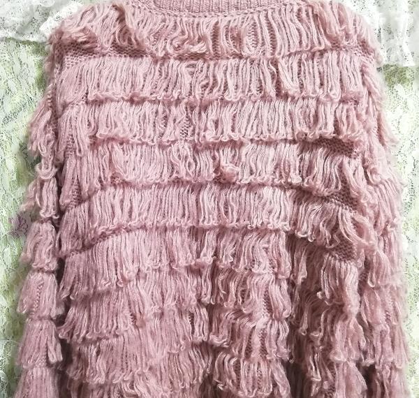 ピンクフワフワアクリル糸段フリルニットカーディガン Pink fluffy acrylic yarn frill knit cardigan_画像3