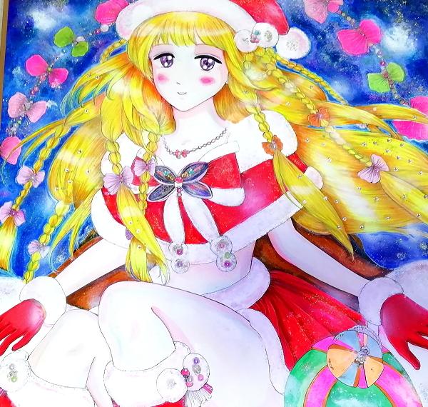 色紙45x45cm正方形/クリスマス女の子手描きオリジナルイラスト絵01 Christmas girl 01 hand drawn originalart picture cute girl beauty_画像3