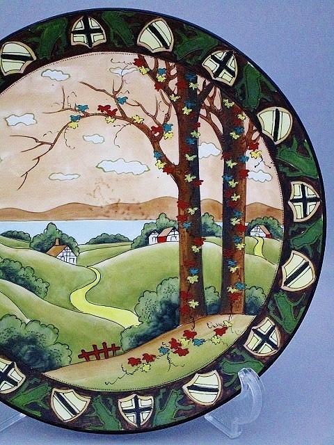 SALE★オールドノリタケ 盛上装飾ウッドランド大飾り皿 27.5㎝(キャビネット) 鉢 カップ 花瓶 壺_画像2